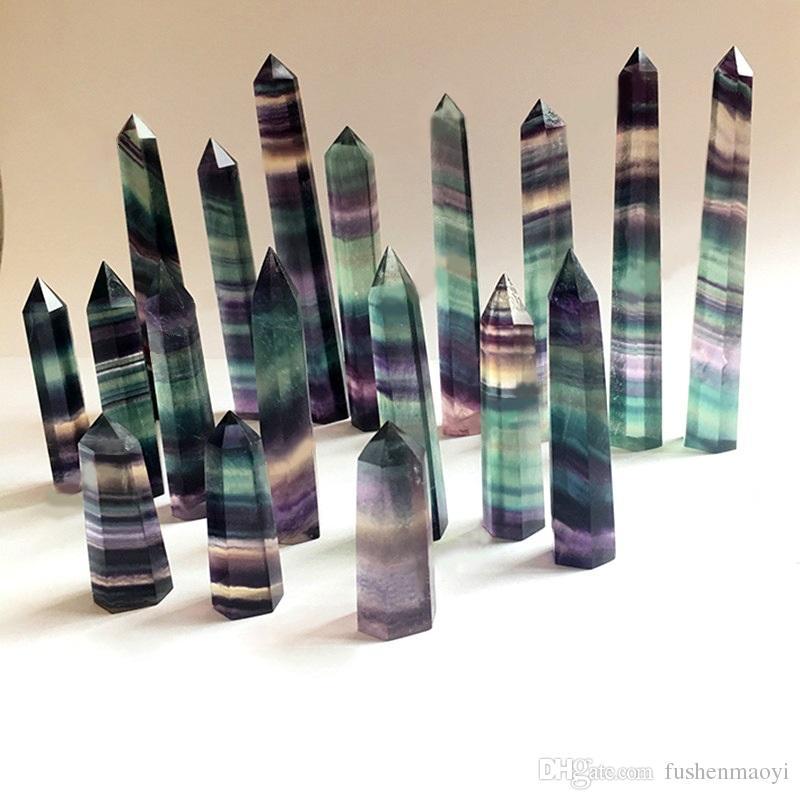 Cristal coloré naturel de quartz de tour de quartz de tour de quartz de fluor de pointe de fluorite de baguette magique de guérison de cristal