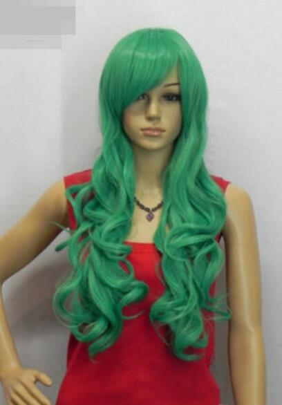 LL HOT sell Free ***New Women Green Synthetic Bangs Party Cosplay Hair Full Long Wig