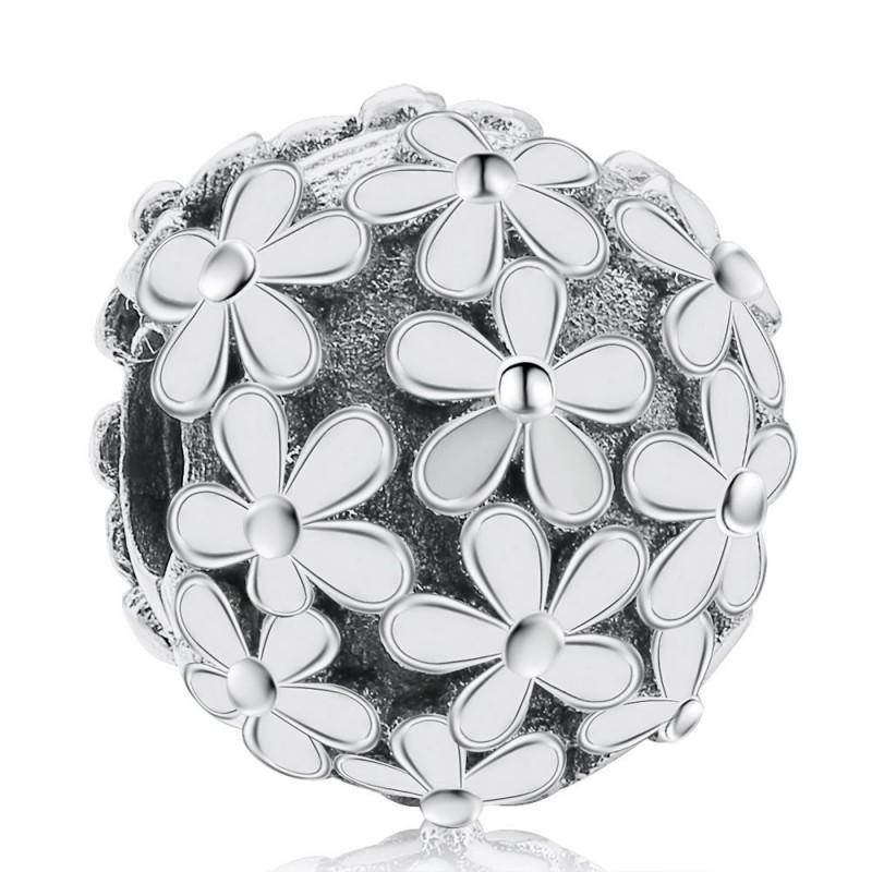 Новый 100% Реальный Стерлингового Серебра 925 Шарм Белая Эмаль Дейзи Луг Клип Пробка Шарм Бусины Подходят Женщины Подарок Европейский Браслет Diy Ювелирные Изделия
