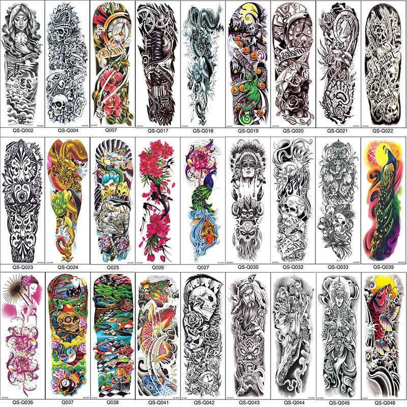 Full Arm Temporary Tattoo Sleeves Peacock Peony Dragon Skull Designs Waterproof Cool Men Women Tattoos Stickers Body Art Paints