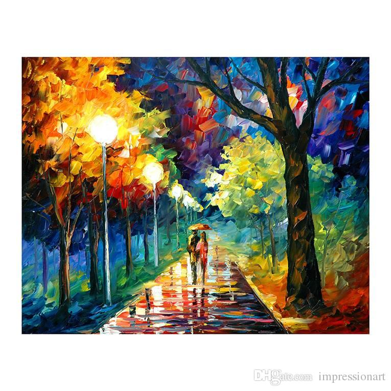 Romantic walking in the rain forest oil painting restaurant bedroom adornment painting murals rainy night umbrellas hand-painted 48x24