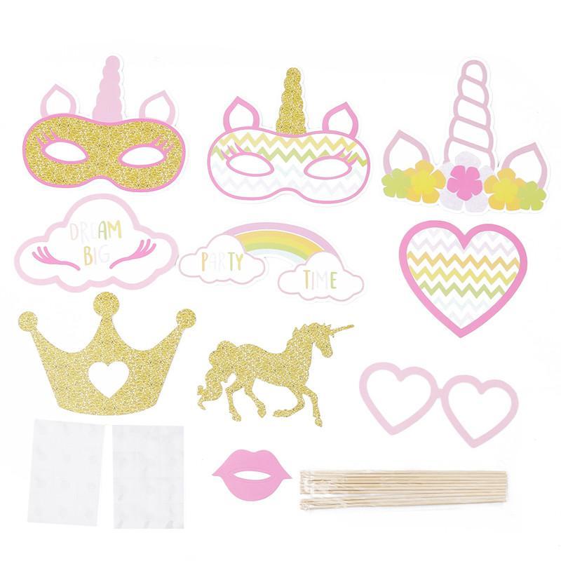 Decoración del partido 10PCS / Unicorn Photo Booth Puntales del unicornio Primer bebé cumpleaños de los niños Photobooth Partido Puntales
