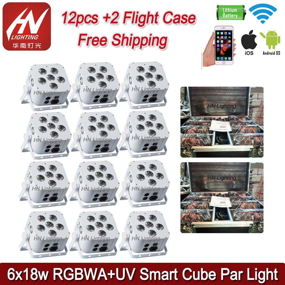 12 adet LED Uplights DJ Par Işık 6x18 W RGBWA UV 6in1 Pil Powered Kablosuz DMX Up Işıkları Akku Yukarı Işe DJS Düğün Sahne Etkisi için