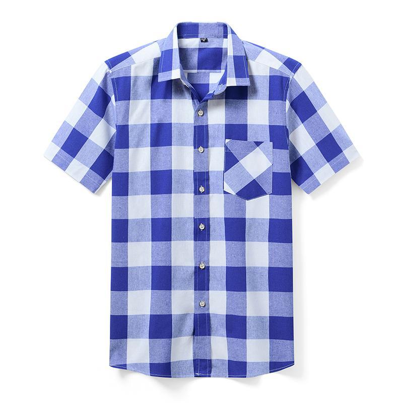 Aoliwen marka 2020 Yaz Moda Erkek Baskı Ekose Gömlek Erkek Short Sleeve Yaka Gömlek Marka Casual Klasik