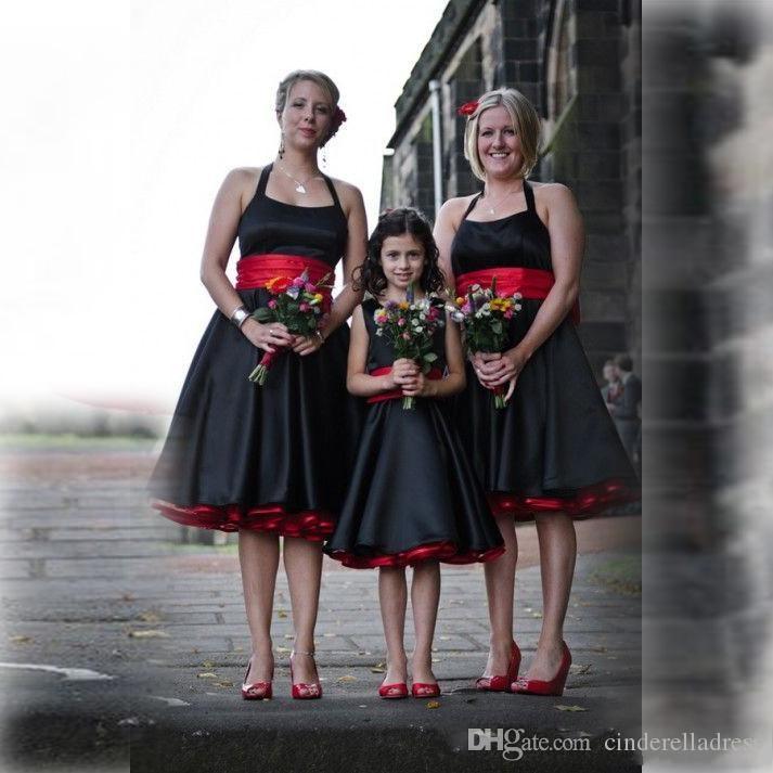 Vintage Siyah ve Kırmızı Saten Halter Gelinlik Modelleri Kanat Kolsuz Backless Zarif Diz Boyu Junior Nedime Elbise