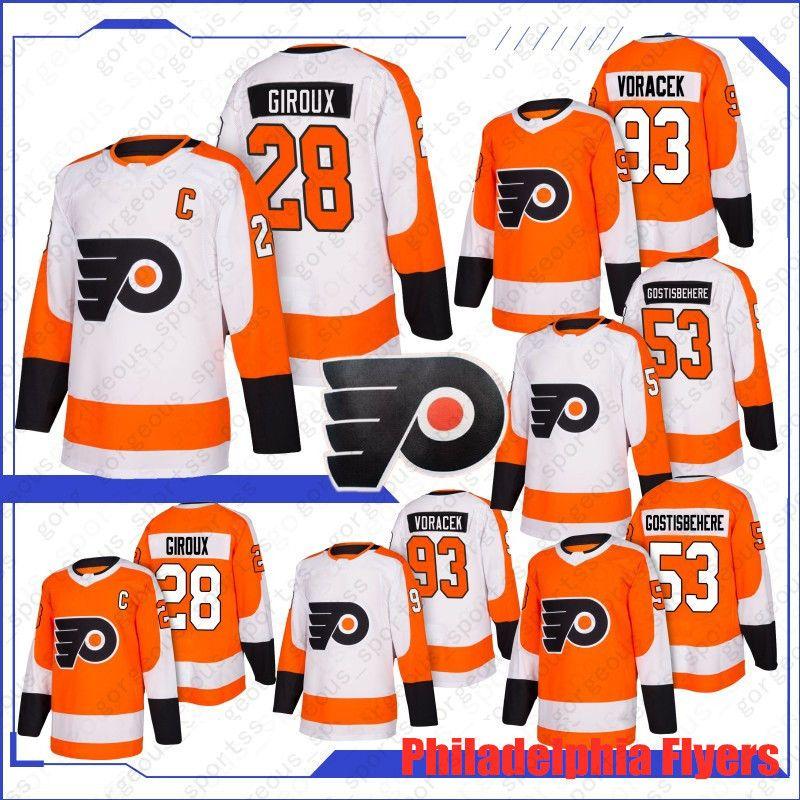 Novo 28 Claude Giroux Philadelphia panfletos 88 Eric Lindros 17 Wayne Simmonds Hockey Jerseys 53 Shayne Gostisbehere 93 Jakub Voracek