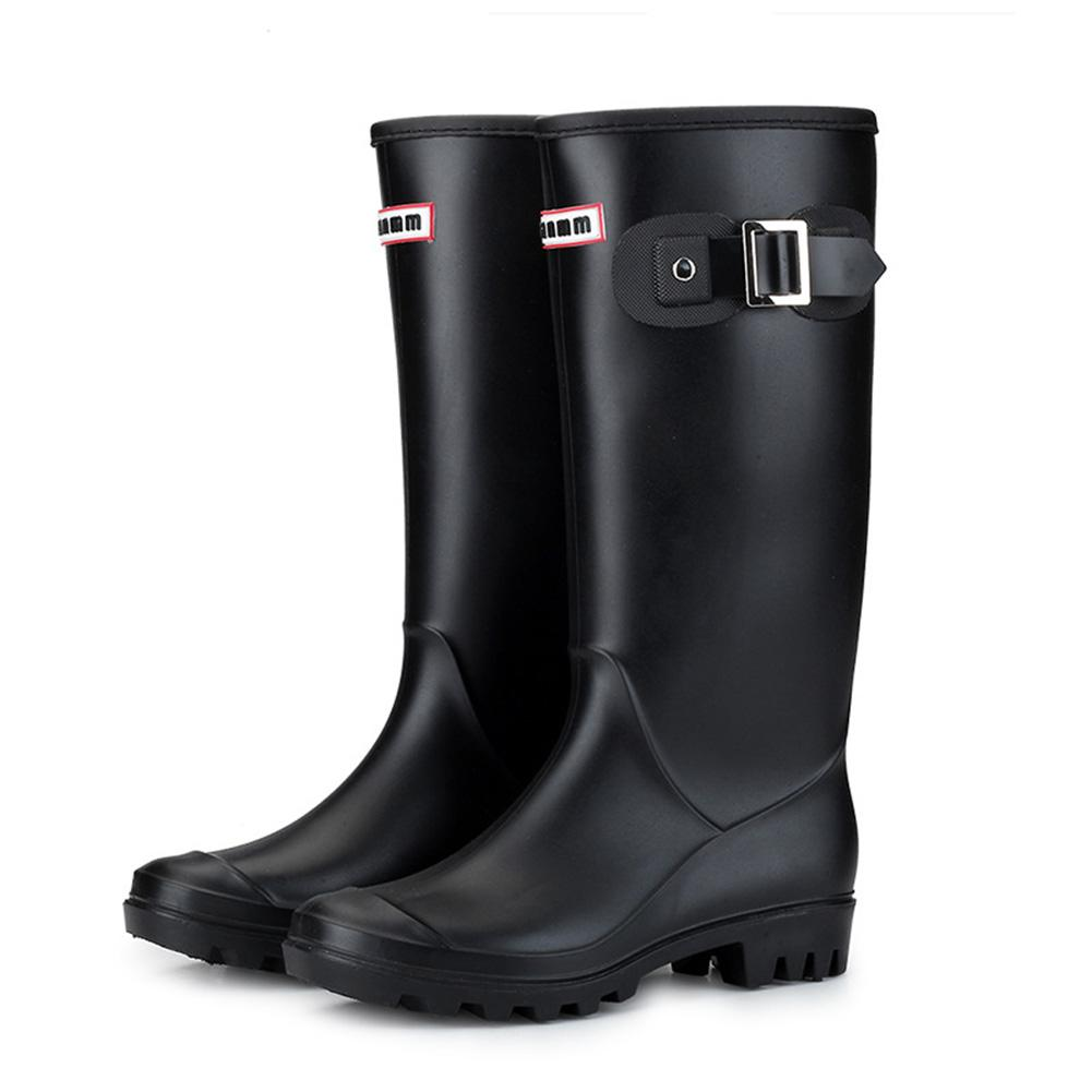 Designer-Frauen warm gefütterte Regen Stiefel Winter-Blockabsatz Buckles Anti-Rutsch-runde Zehe-Pull-on-isolierten Wellington Hochwasserdicht