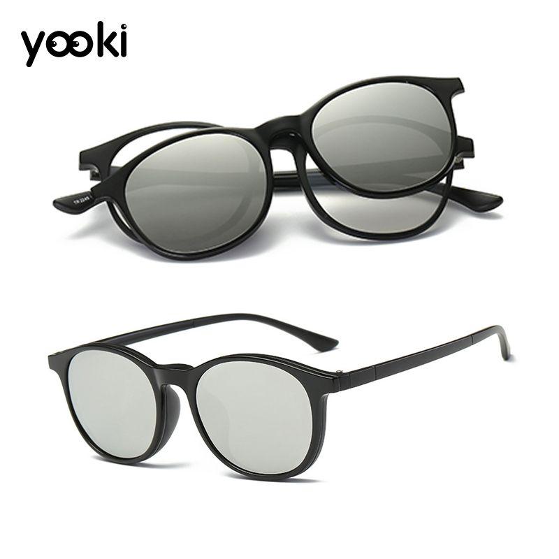 Retro Round Magnetic Polarized Clip-on Driving Sunglasses Acetate Eyeglass Frames Anti Glare Glasses