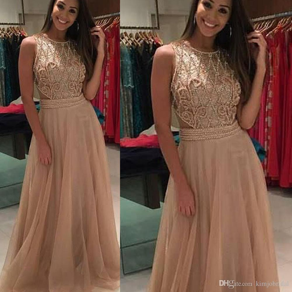 Beaded Prom Dresses 2019 Champagne A Line Lace Appliques Tulle Champagne Pearls Tulle Evening Dresses Gowns