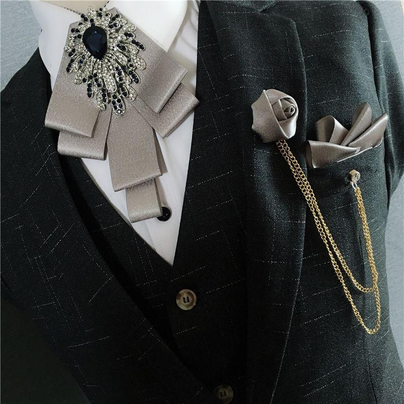 Yeni Moda Cep havlu Koreli papyon Erkek damat düğün altın elmas göğüs düğüm Gelinlik yaka çiçeği tören papyon kravatlar