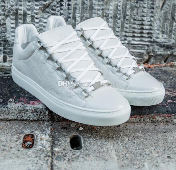 2019 Mais barato calça as sapatilhas Top Arena Branco Baixo, Moda Prata Branco Kanye West Formadores de couro genuíno Flats Casual, dos homens ao ar livre Trainers