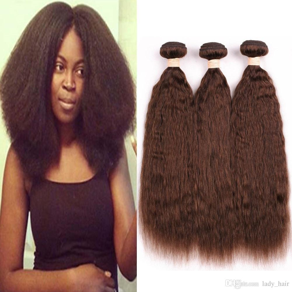 Chocolate Brown Peruvian Human Hair Coarse Yaki Bundles Deals Pure 4 Color Kinky Straight Virgin Hair Weave Wefts Medium Brown Hair Weaves
