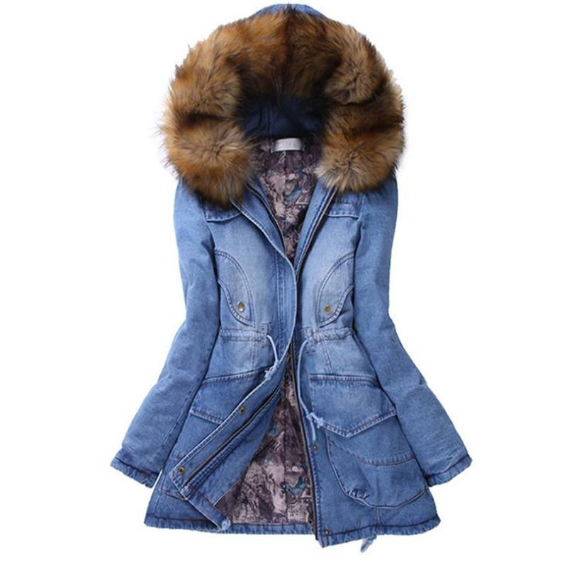 Женские зимние утолщенные длинные пальто модные джинсовые куртки с капюшоном с мехом теплая утолщенная верхняя одежда повседневные женские куртки