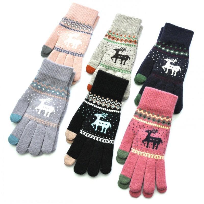 2019 Luvas bonito Elk cervos malha Luvas Mulheres Feminino Meninas inverno cheio de tela de toque do dedo Mittens presente unisex Natal 6 estilos H918Q F