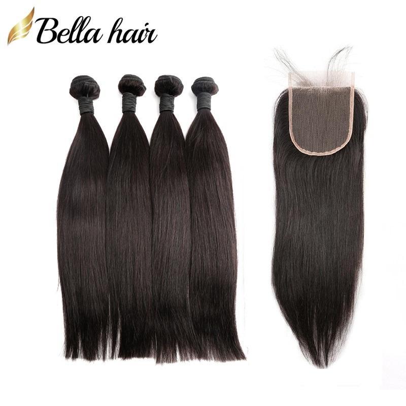 Bellahair 100% Peruviaans Menselijk Maagd Haar Weave 4 Bundels met Sluiting Vrije Deel Hair Extensions 4x4 Top Kantsluiting en inslag Natuurlijke kleur