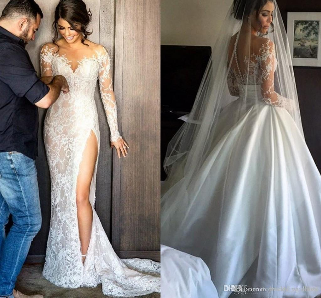 Modest Steven Khalil Lace Wedding Dress With Detachable Skirt Sheath High Split Elegant Overskirts Sheer Bridal Gowns Vestidos De Noiva 2018