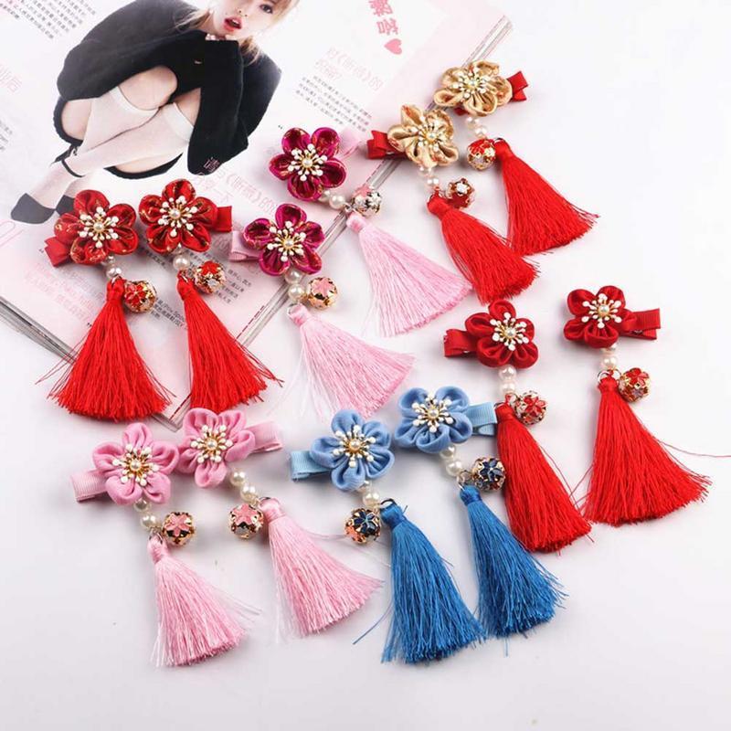 Chinese Style Tassel Hair Accessories Girls Hair Clips Princess Tassels Peony Flower Hairpins Children Kids Accessories