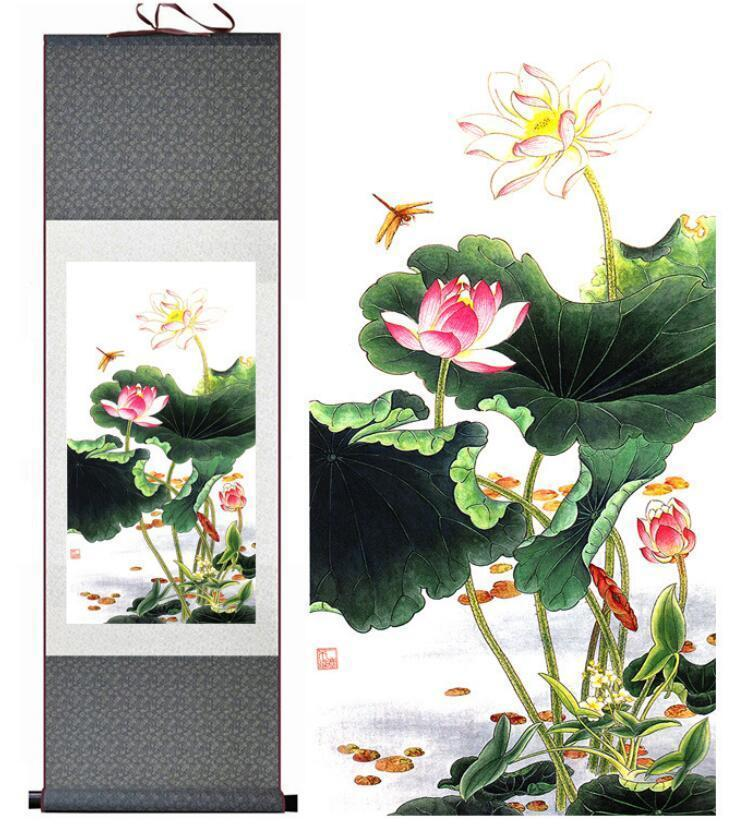 Lotus Çiçeği Geleneksel Çin Sanatı Resim Çin Mürekkep Boyama Çiçek Pictureprinted Boyama