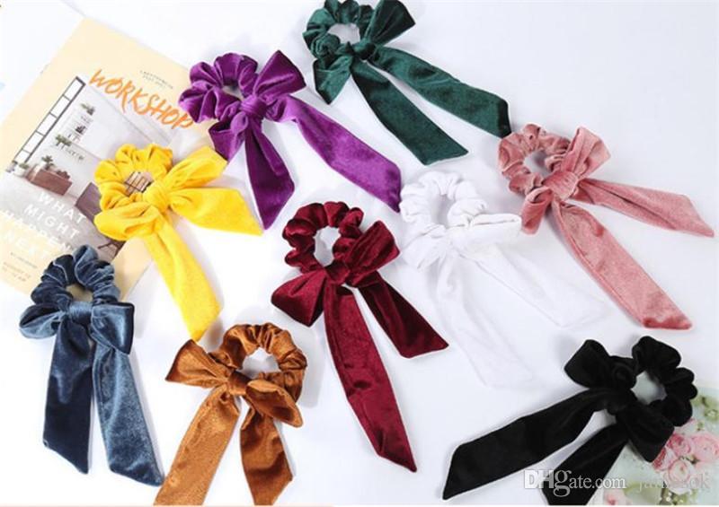 Симпатичные волосы для волос для волос бархат баллов бабочки эластичные полосы волос для женщин бантики галстуки kottail держатель аксессуары dc369
