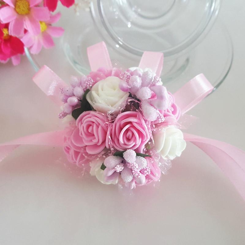 1 PC-Handgelenk-Blumen-Heirat-Rose Corsages Silk Spitze PE-Schaum Artificial Brautbrautjunfer Handblumen Weihnachten Hochzeit Decorn