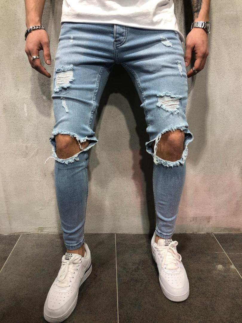 Mens Slim Fit Teenager Boy Hiphop Ripped Jean Hosen Hallo Straße Skateboard Holes Designer Jeans