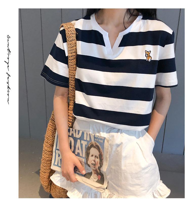 Verano de las mujeres Camiseta diseñador ocasional de manga corta a rayas camiseta de la impresión de moda de lujo para mujer de alta calidad de brillo de empalme camiseta del paño