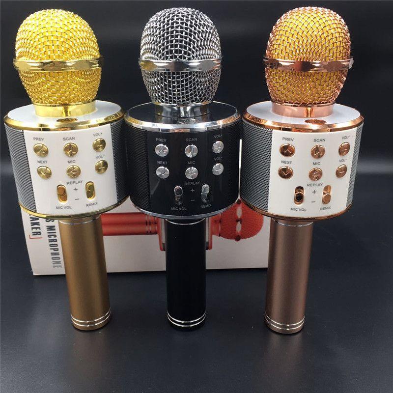 DHL WS-858 Microfono professionale senza fili Bluetooth Microfono tenuto in mano Microfono Karaoke Microfono Lettore musicale Microfono KTV
