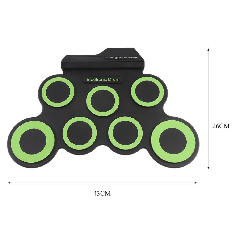 Batterie électronique Pad Avec Pilons Pédale Portable Drum Pad USB numérique Pliable silicone Instrument de musique
