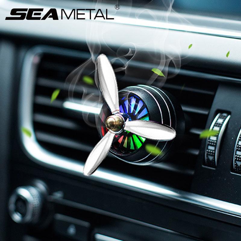 SEAMETAL Parfums Car Diffuseur Désodorisant LED Vent Automobiles clip Outlet Décor Propeller parfum Odeur Ornement