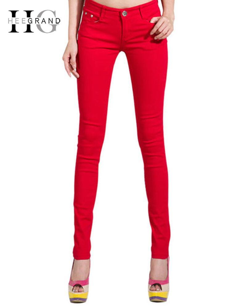 Hee Grand Women's Candy Pants 2019 Pencil Jeans Ladies Trousers Mid Waist Full Length Zipper Stretch Skinny Women Pant Wkp004 SH190826