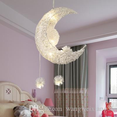 Modern LED Kolye ışık Oturma Odası Yatak Odası Yemek Odası asılı lamba Ay Yıldız kolye lamba çocuk Yatak Odası ışık Luminare