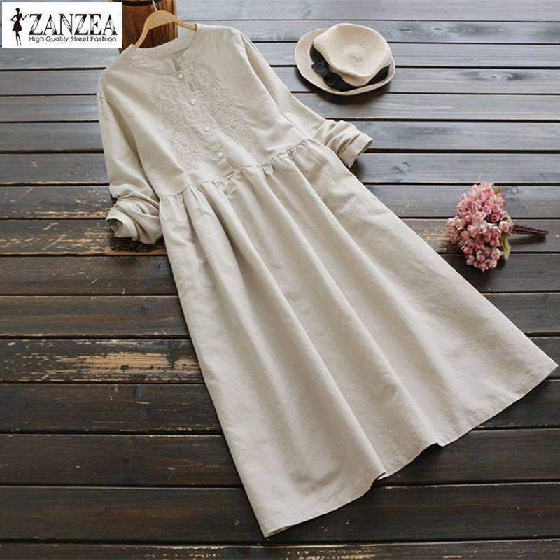 2019 Camicia in cotone vintage primavera Zanzea Abito da donna button down Midi Abiti Ricamo femminile Vestido Top oversize lunghi Y19073101