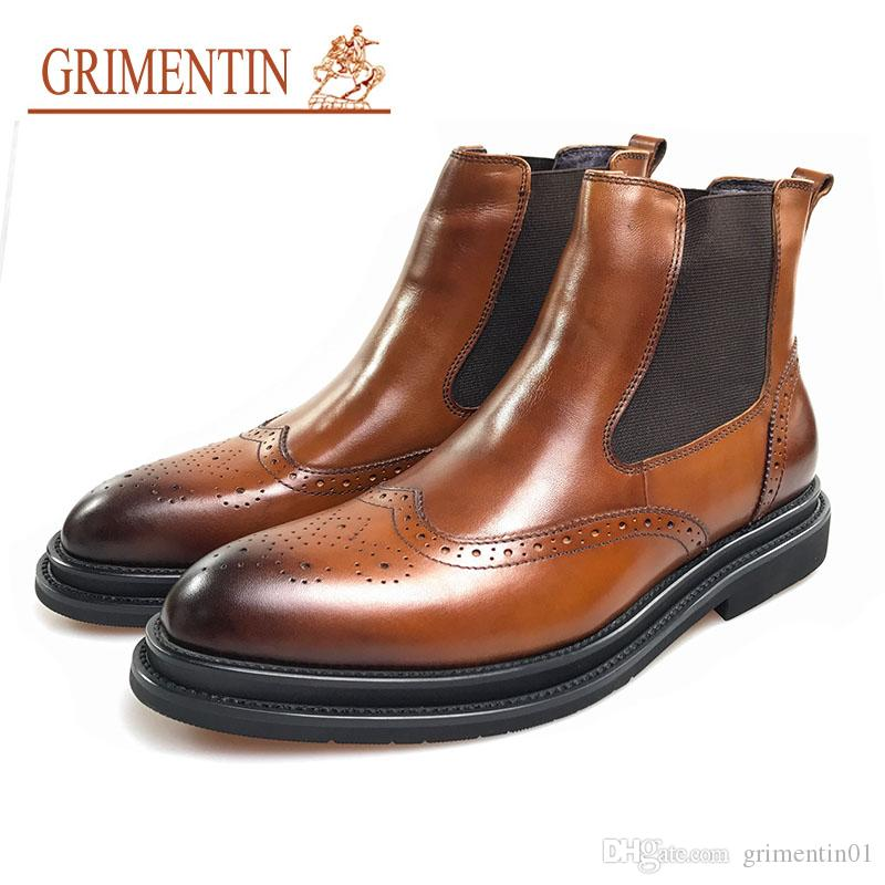 GRIMENTIN 2020 newest fashion brand men boots 100% genuine leather orange Italian formal male boots for hot sale office dress mens shoes