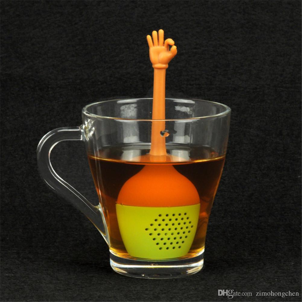 küche lustige handgesten lose sieb blatt diffusor tee infuser silikon