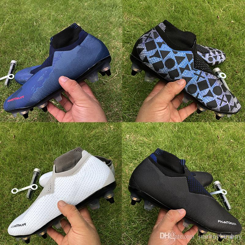 Melhor qualidade Fantasma VSN Elite DF SG Futebol Botas jogo real Lux preto sobre mens totalmente carregada Futebol chuteiras alta Ankle Size39-45