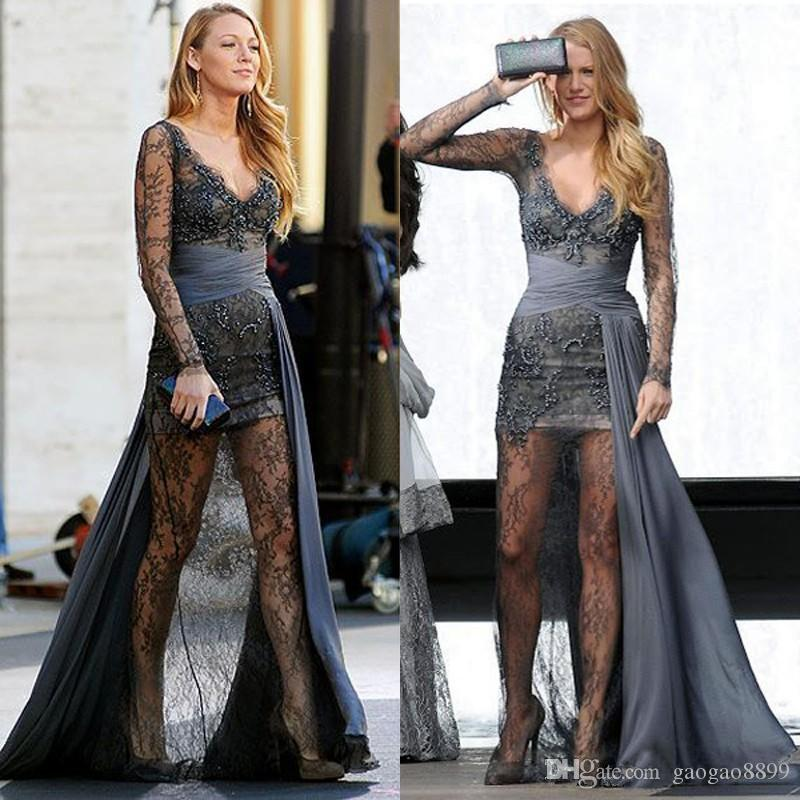 2020 Gossip Girl Blake Lively fashion Zuhair Murad Grey Long Sleeves Prom Dresses Full Lace Beaded sexy Evening Gowns Celebrity Dresses