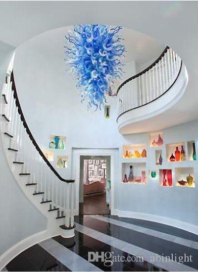 Home Design Art Glass Chandelier Villa Hally Stair Decoration Blown Glass Chandelier Lighting Novelty Glass Pendant Lamps