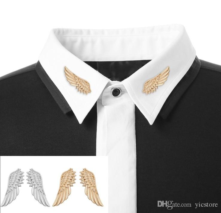 Fashion Popular Silver & Gold Color Wings Collar Pin Sweater Shirt Brooches For Women Angel Wing Cute Girl Punk Jewelry Valentine's Day Gift