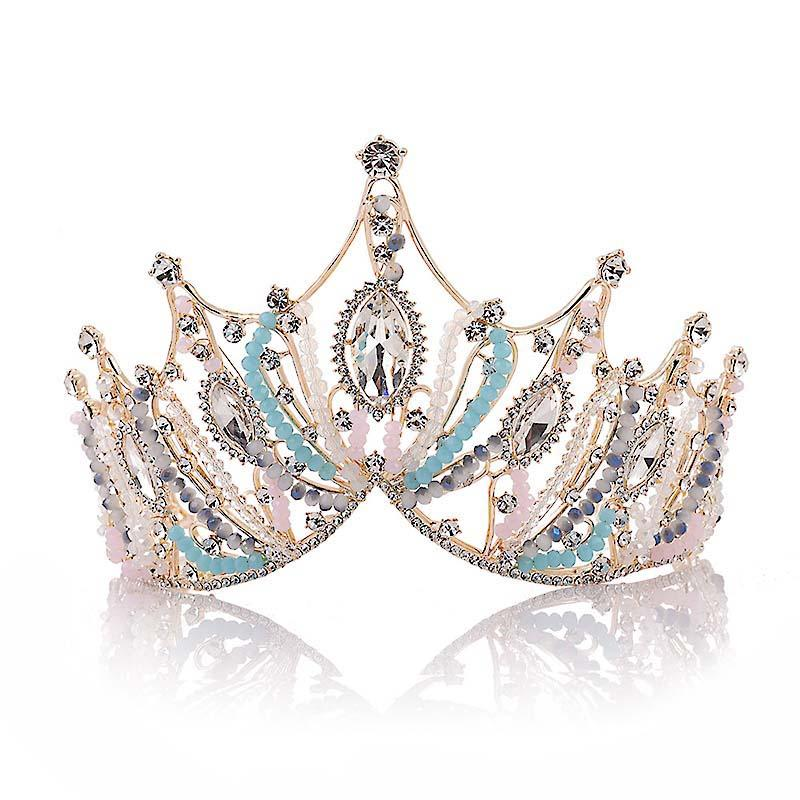 Женщины девушки ретро Королева тиара волос ювелирные изделия инкрустации бусины оголовье Корона свадьба для новобрачных Принцесса короны LB