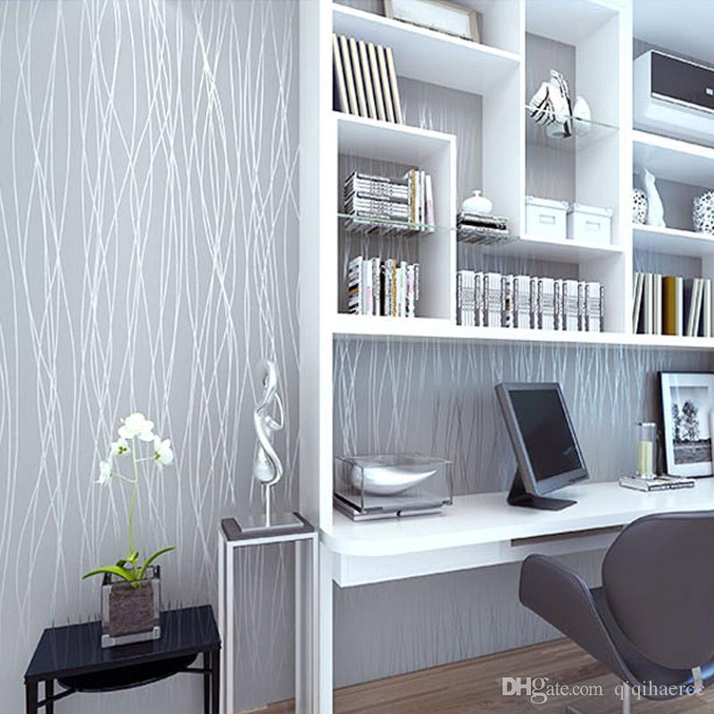 Size : 0.53m*10m Papel pintado de rayas verticales de flocado fino de moda no tejida for sala de estar Sof/á Fondo Paredes Papel pintado for el hogar 3D gris plata
