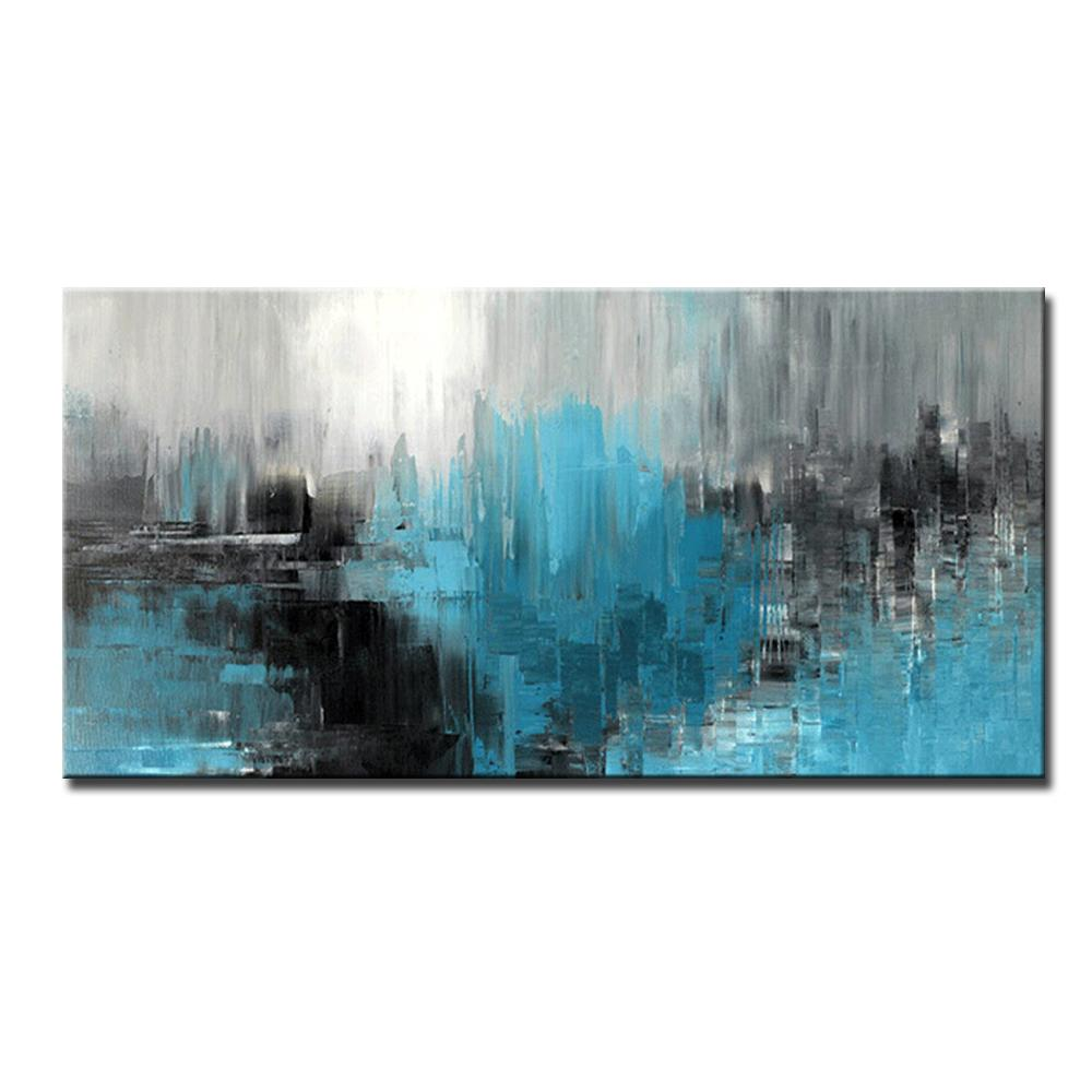 Mintura art peint à la main Couteau peint à la main Abstrait peinture à l'huile sur toile Moderne Abstrait mur Art Photos pour salon Chambre à coucher Décoration murale sans cadre
