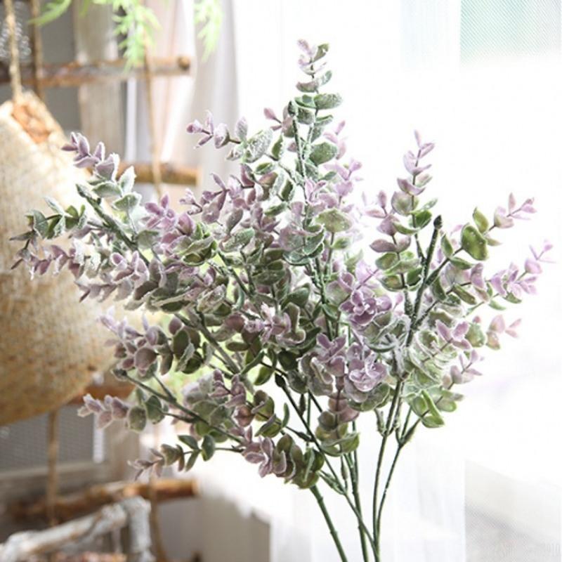 1 PCS Purple Artificielle herbe verte en plastique faux fleurs simulation eucalyptus feuilles bouquet maison jardin boutique de table décor