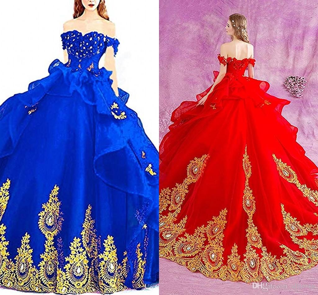 Gorgeous Puffy Princess Ball Gown Dresses Off The Shoulder Golden Lace Appliqued Sweet 16 Quinceanera Dresses Beaded Formal Prom Gown AL3203