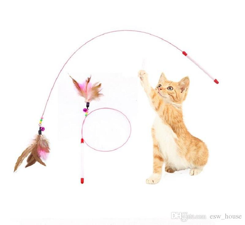 Funny Kitten Play Long Teaser Cute Cat Wand Interactive Toy Feather Stick Rod CH
