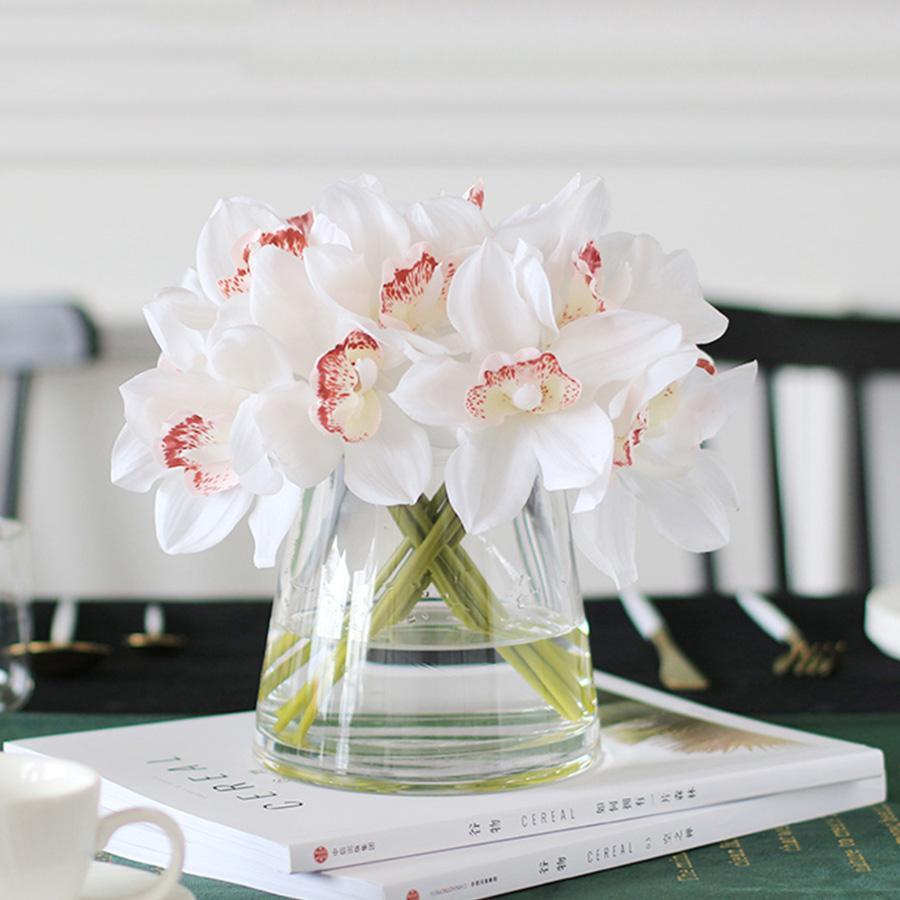 orquídeas blancas flores artificiales verdadero toque de flores Cymbidium mano de novia de la boda ramo de flores para la decoración de Arreglo de mesa