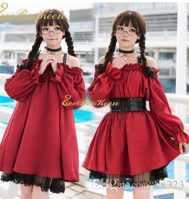 Adult Anime Maid Cosplay Kostüm Weiblich Sweet Wine Red Gothic Lolita Kleid Ein sexy off-the-Shoulder-Kleid Party-Kleidung für Mädchen