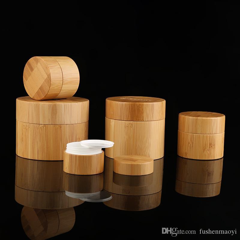 Bonnets cosmétiques cosmétiques complètes de bambou ronds de bocaux ronds avec un pot en PP interne blanc et une couverture utilisée pour la crème corporelle à la main de visage 15g à 100g