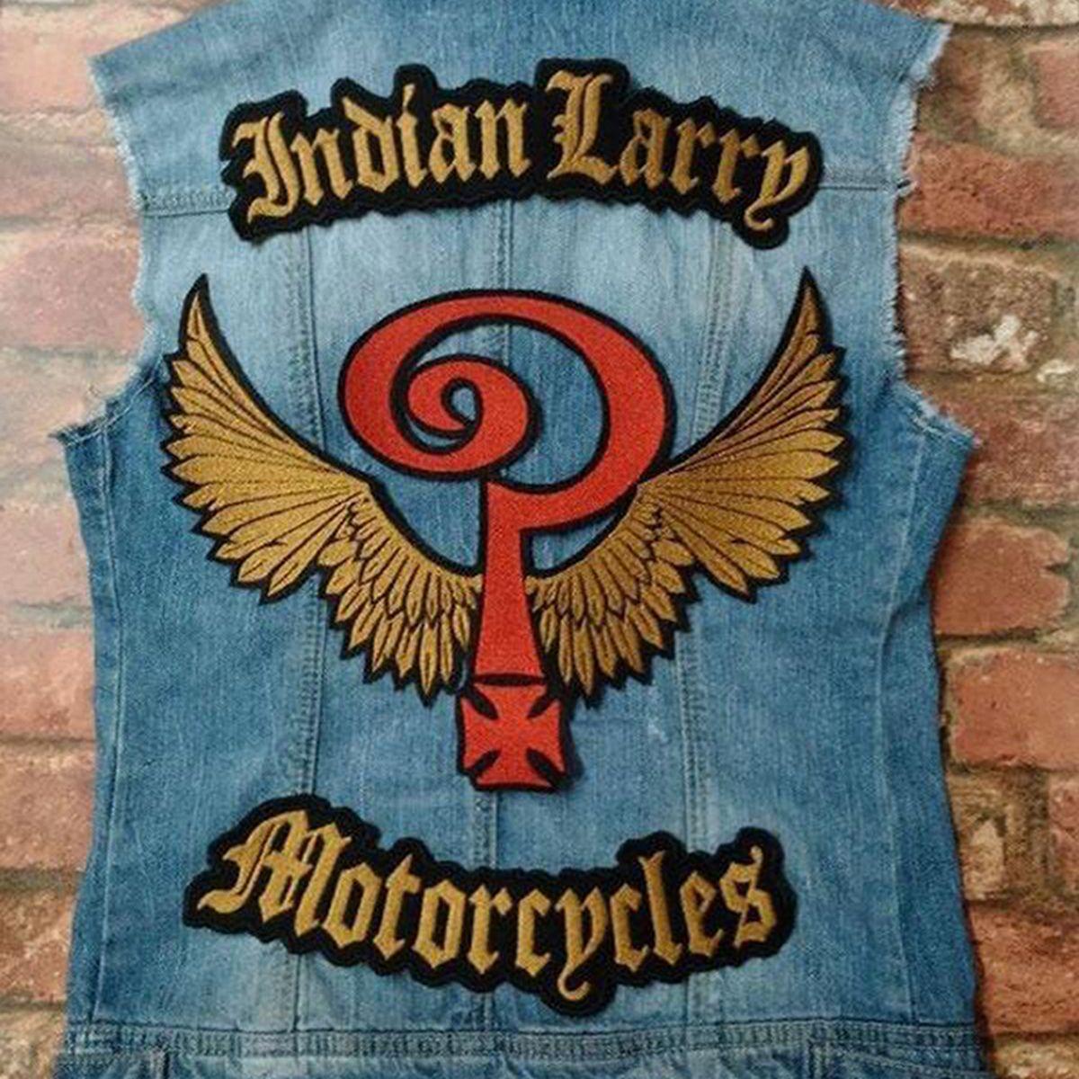Nouvelle arrivée indienne Larrd motos grand dos taille broderie Patch fer sur coudre sur Biker Veste gilet conception sur mesure