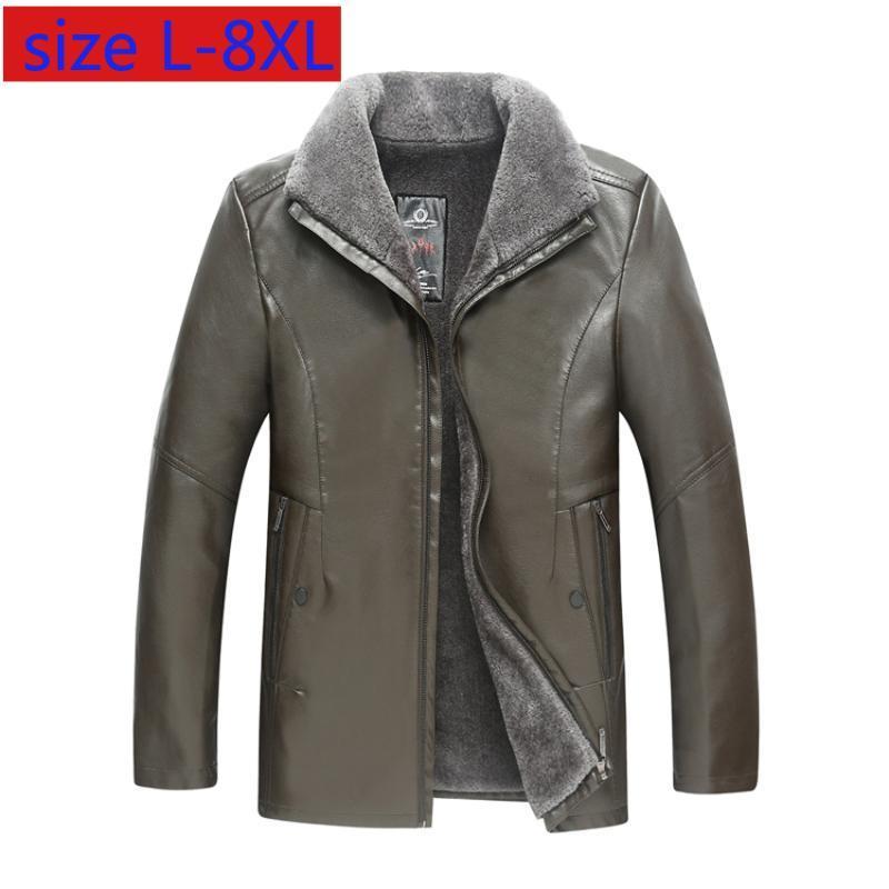 Chegada Nova Moda Super Grande alta qualidade Homens Inverno couro jaquetas e casacos casual solta Grosso Plus Size LXL2XL3XL4XL-8XL