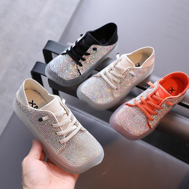 Herbst-Mädchen Freizeitschuhe Strass Princess Sneakers Studentenlederschuhe Kind-Kind-Kind-Mädchen
